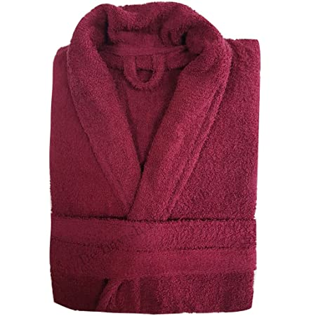 Womens Bathrobe Mens Ladies Bath Robe 100% Egyptian Cotton Dressing Gown  Terry Towelling long Free Size Unisex (Wine)  Amazon.co.uk  Kitchen   Home c647dba03