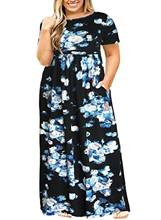 0611a0897 Nemidor Women Short Sleeve Loose Plain Casual Plus Size Long Maxi Dress  with Pockets (073