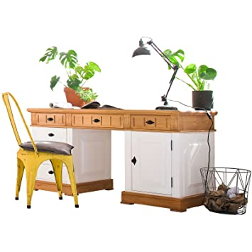 Möbel Ideal Schreibtisch Weiss Landhausstil Massivholz 149 X 70 Cm