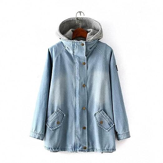2pc Women Spring Autumn Denim Trench coat with innner Gray hooded vest Woman windbreaker outwear casaco