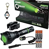 Bundle: Nebo iProtec 6008 O2 Beam Long Range Series Tactical Green LED Flashlight with 3x EXTRA Energizer AAA Batteries and LightJunction Keychain Light