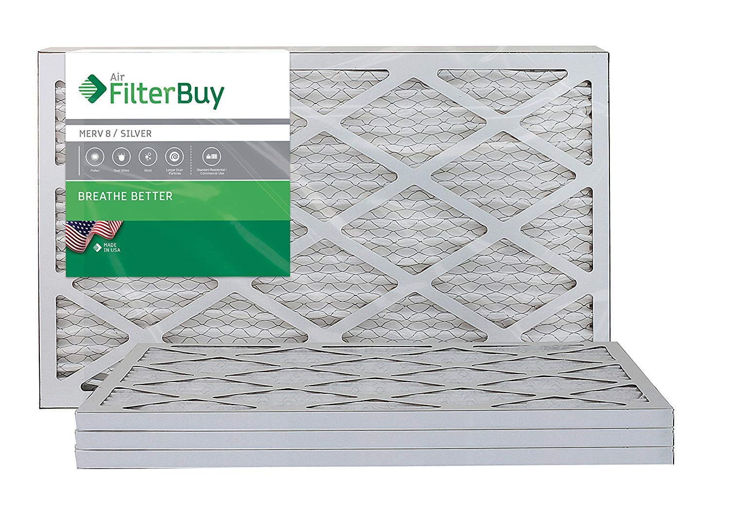 1. FilterBuy AFB MERV 8 14x20x1 Pleated AC Furnace Air Filter, (Pack of 4 Filters), 14x20x1 - Silver