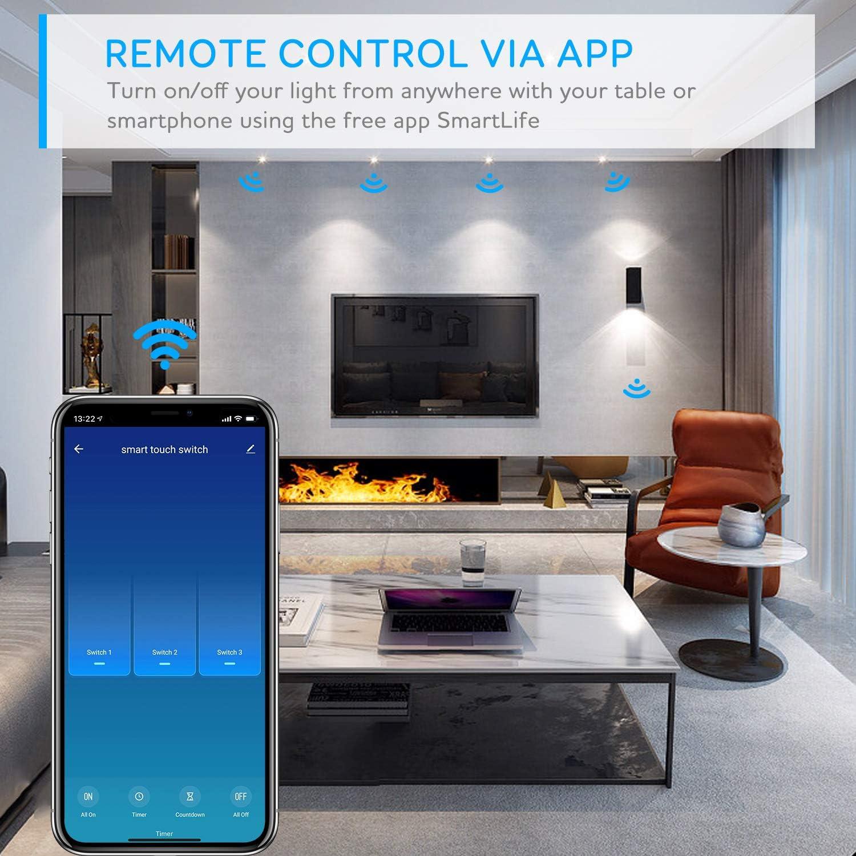 Kompatibel mit Alexa Alexa Smart Lichtschalter Google Home Timer Funktion und /Überlastungsschutz Maxcio Alexa Wlan Lichtschalter 3 Weg Nullleiter Erforderlich APP Fernbedienung