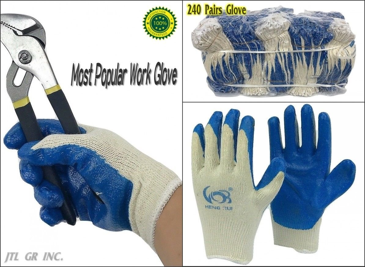 240 pairs wholesale Heng Rui Premium Blue latex coated white cotton Grip glove