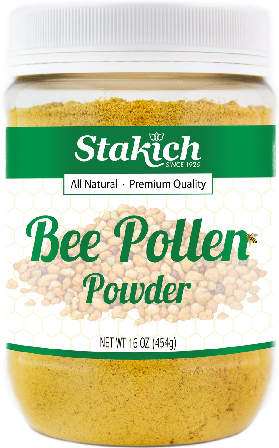 Stakich BEE POLLEN POWDER 1 lb (16 oz) - 100% Pure, Natural, Top Quality -