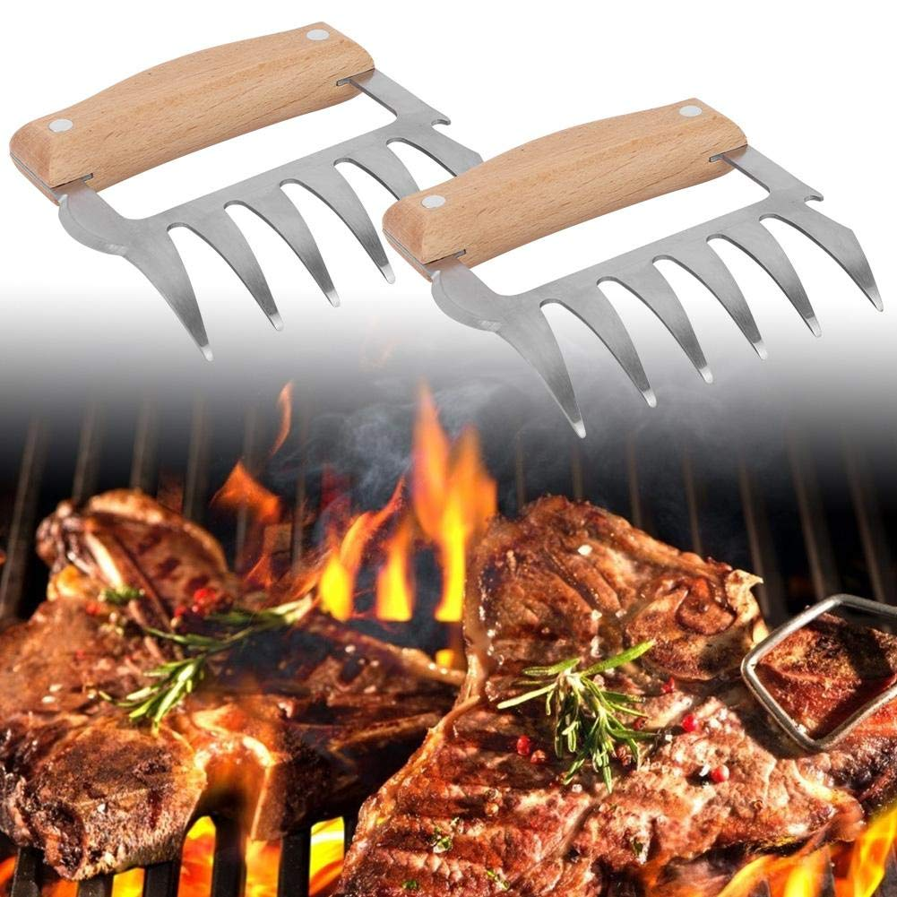Stainless-Steel Meat Claws Tools Pair with Wooden Handles for Outdoor BBQ