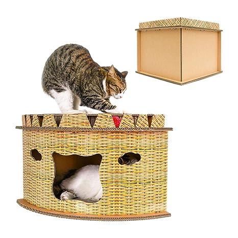 G-wukeer Camada para Gatos - Casa de Gato Creativa en Forma de Abanico Esquina