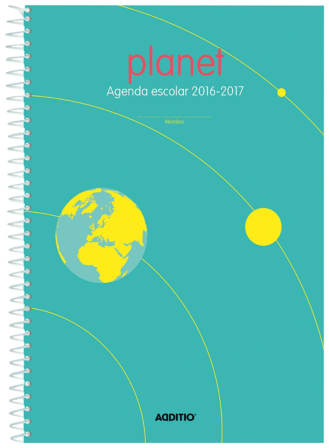 Additio A122 - Agenda Planet 2016-2017 para Educación Primaria, color azul