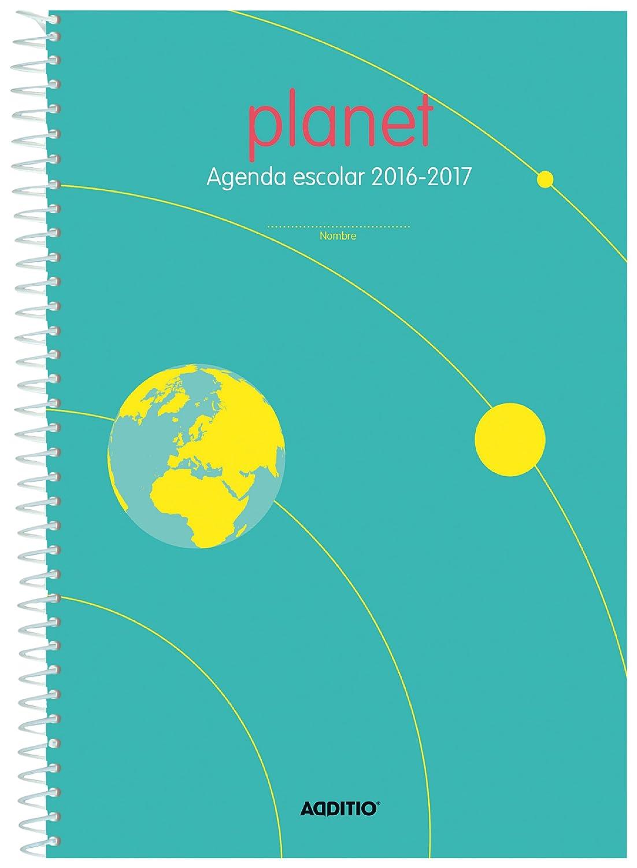 Additio A122 - Agenda Planet 2016-2017 para Educación Primaria, color azul