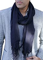 Anika Dali Men's Houndstooth Scarf in Navy Blue/Black with Tassels