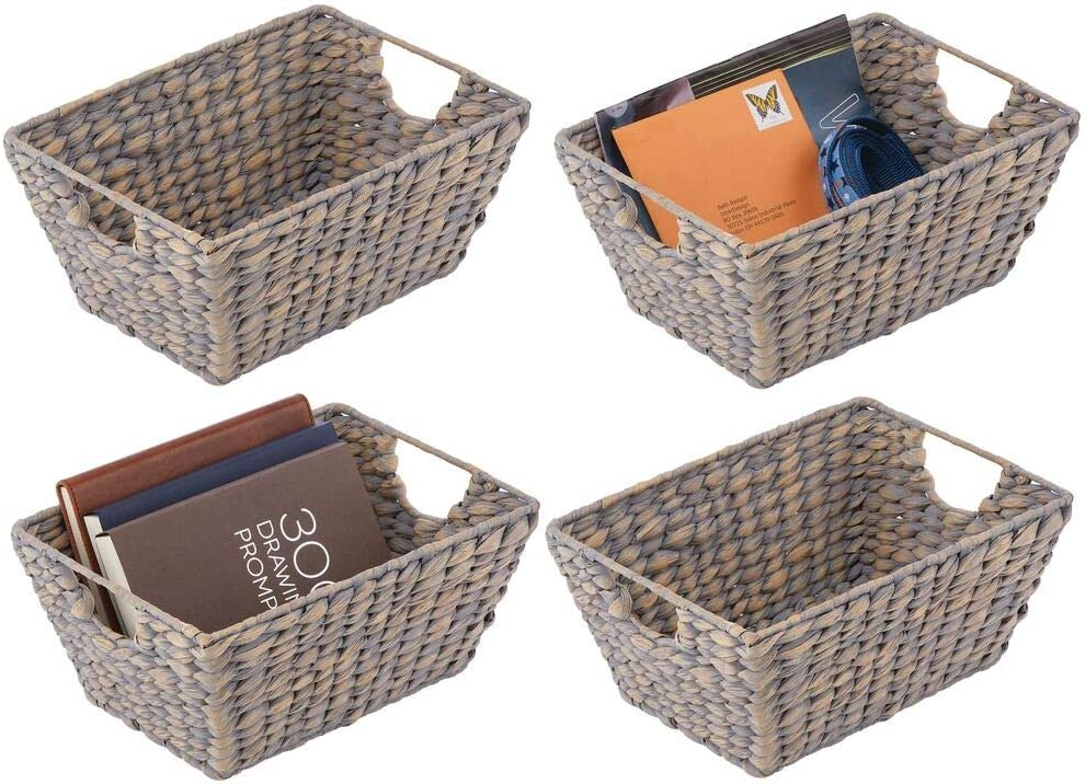 mDesign Natural Woven Hyacinth Closet Storage Organizer Basket Bin - Collapsible - for Cube Furniture Shelving in Closet, Bedroom, Bathroom, Entryway, Office - 4 Pack - Gray
