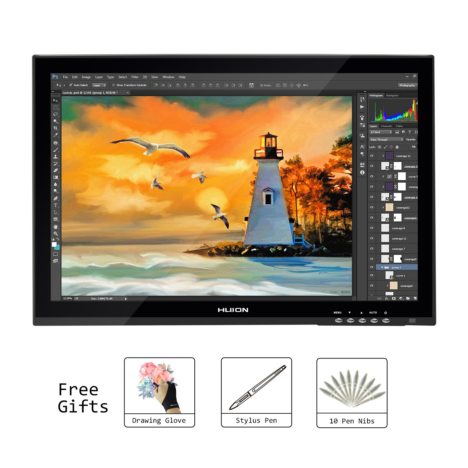 Huion GT-190 19 Inches Grpahics Drawing Monitor Digital Pen Display for PC and Mac by Huion