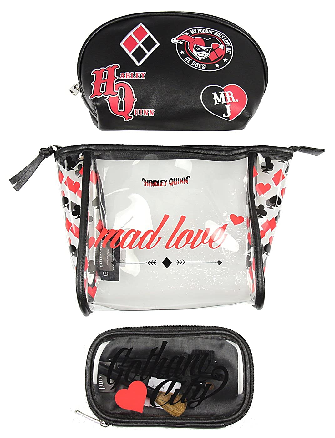 Harley Quinn Mad Love Jrs. Cosmetic 3 Piece Bag Set