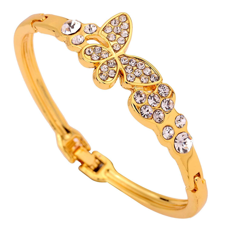 DVANIS Jewelry Butterfly Heart Shape Gold Plated Bracelet Bangle Bdangle Bangle Women