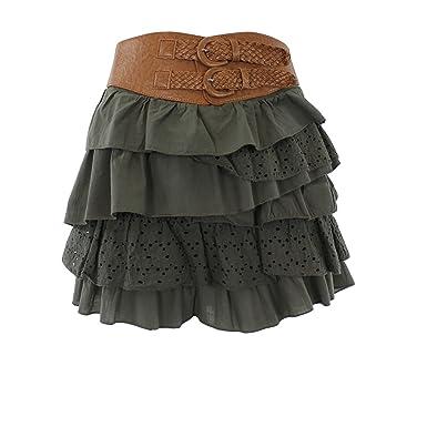 25177aeef5e Mim - Mini-jupe à Volants - Femme - 38 - Kaki Fc  Amazon.fr ...