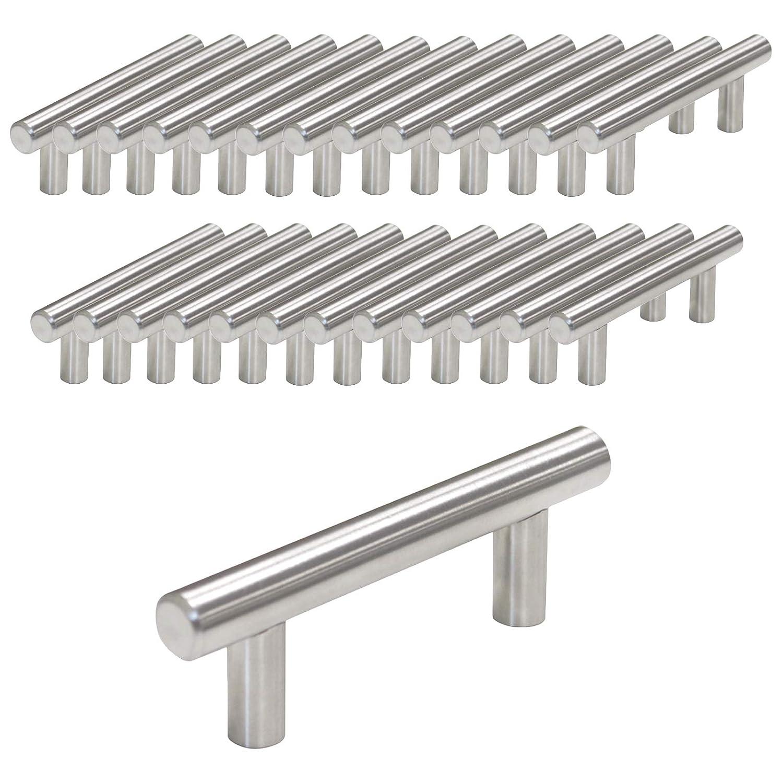 10 unidades Probrico Pomo de barra en T CC:160mm de mueble de cocina 12/mm de di/ámetro acero inoxidable