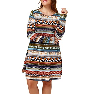 HCFKJ 2017 Mode Damen Plus GrößE Retro Gedruckte Evening Party Casual  Langarm Dress (XL) 97d1509a44