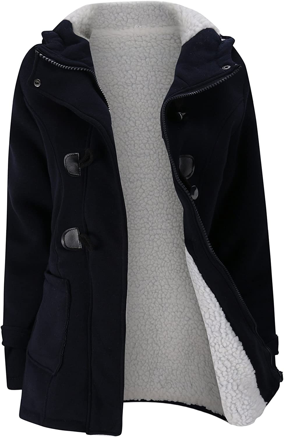 Annystore Womens Duffle Toggle Coat Long Wool Blended Hooded Pea Coat Jacket with Pockets