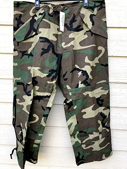 7f2cfa167cfc7 Image Unavailable. Image not available for. Color: General Issue ECWCS Gore-TEX  Trouser Wet Weather, Woodland Camo, Size ...