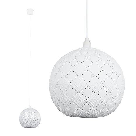 MiniSun – Moderna lámpara de techo con diseño vintage, ornamentada y redonda – blanco cerámica, estilo shabby chic