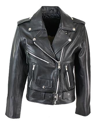 063045b8897d Blouson cuir perfecto femme style Brando biker motard couleur noire  Amazon. fr  Vêtements et accessoires