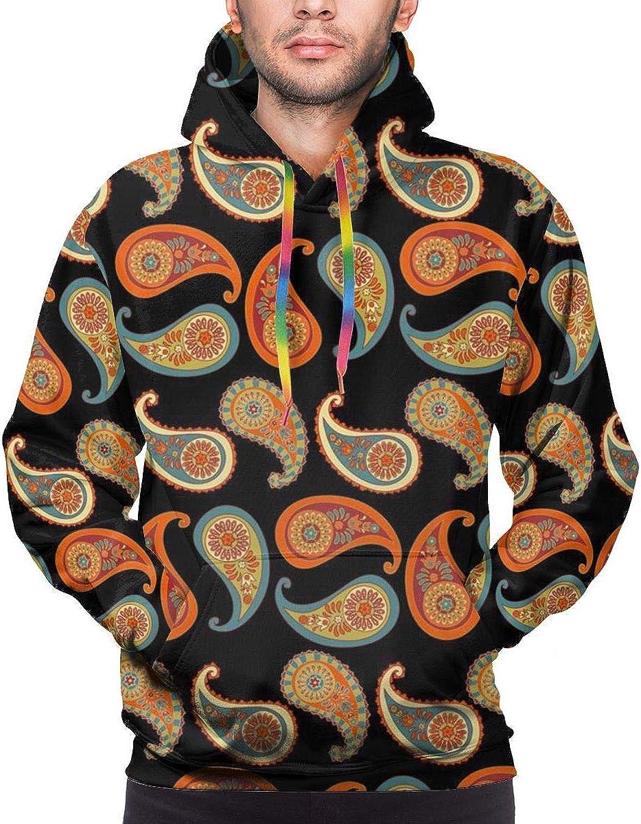 Mens Hoodie Paisley Print Sweate Sweatshirt Mens Casual Hoodie Casual Top Hooded