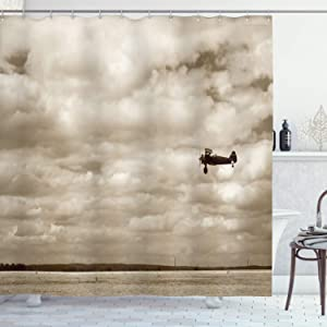 "Ambesonne Vintage Airplane Shower Curtain, Airplane in Dramatic Cloudy Skies Aviation Flyby Obsolete Composition Print, Cloth Fabric Bathroom Decor Set with Hooks, 75"" Long, Sepia"