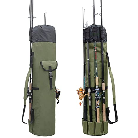 Fishing Bags Portable Folding Fishing Rod Carrier Canvas Fishing Pole Tools Storage Bag Case Fishing Gear Tackle A Complete Range Of Specifications Security & Protection
