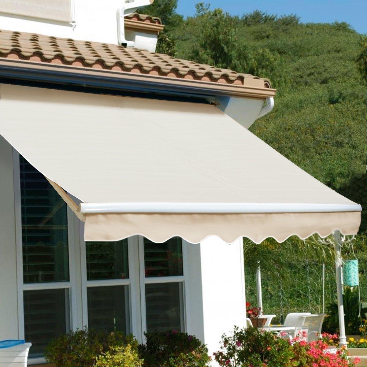XtremepowerUS Patio Manual Retractable Sun Shade Awning - Tan (8' x 6')