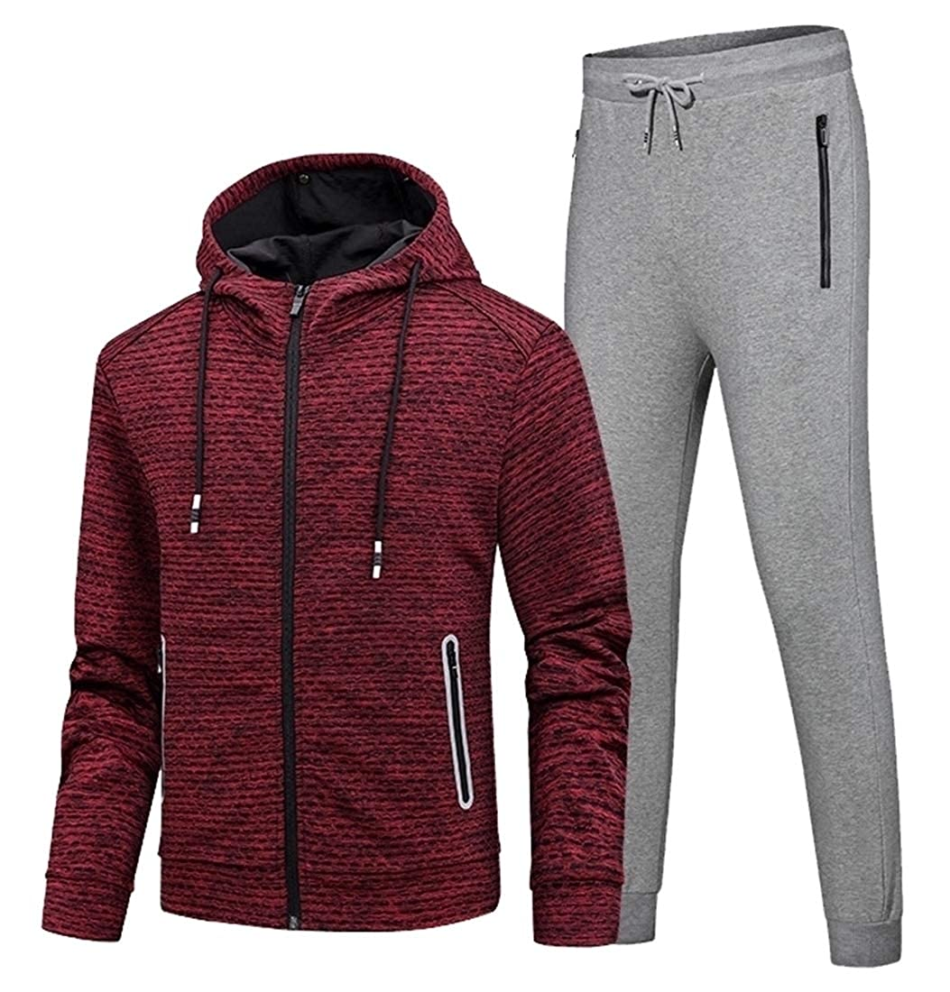 WSPLYSPJY Men Fleece Warm Sport Jogging Tracksuit Top /& Bottoms Set