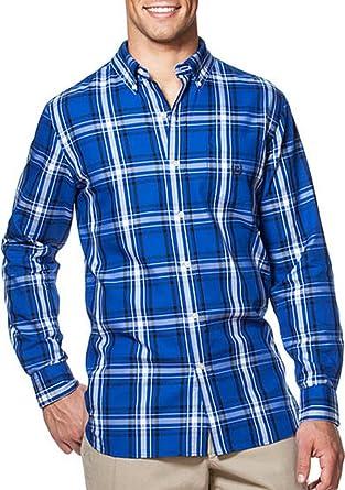 f628d1c9de6d Chaps Mens Classic Fit Twill Shirt Tropical Blue Plaid (3XB (XXXB ...
