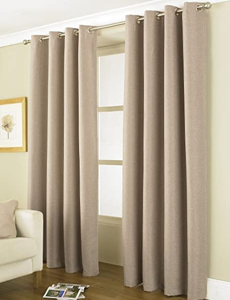 Cream Blackout Eyelet Curtains 66 X 72 Wallpaperall