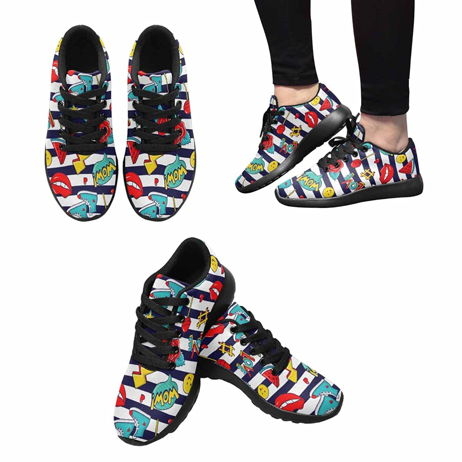 InterestPrint Women's Jogging Running Sneaker Lightweight Go Easy Walking Comfort Sports Athletic Shoes Striped Pattern With colorful Stickers