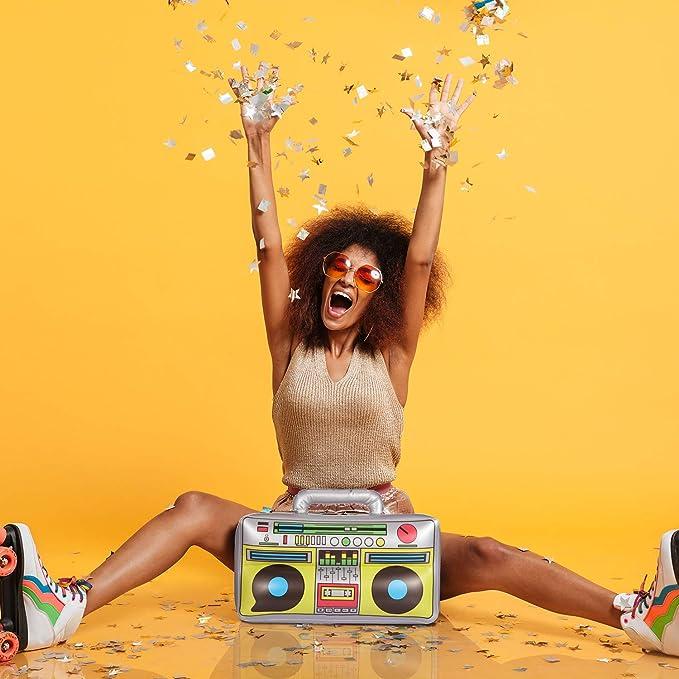 Gold Aufblasbarer Party-Hut Fanm/ütze mit Sound Tr/ötenkrone