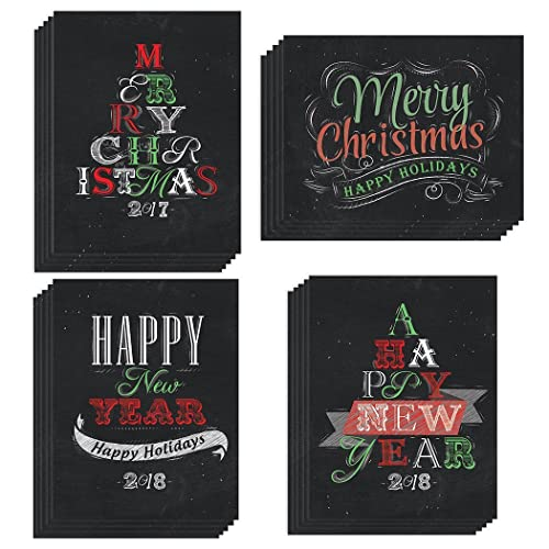 48 christmas new year seasonal greeting cards 4 assorted winter celebration designs card set