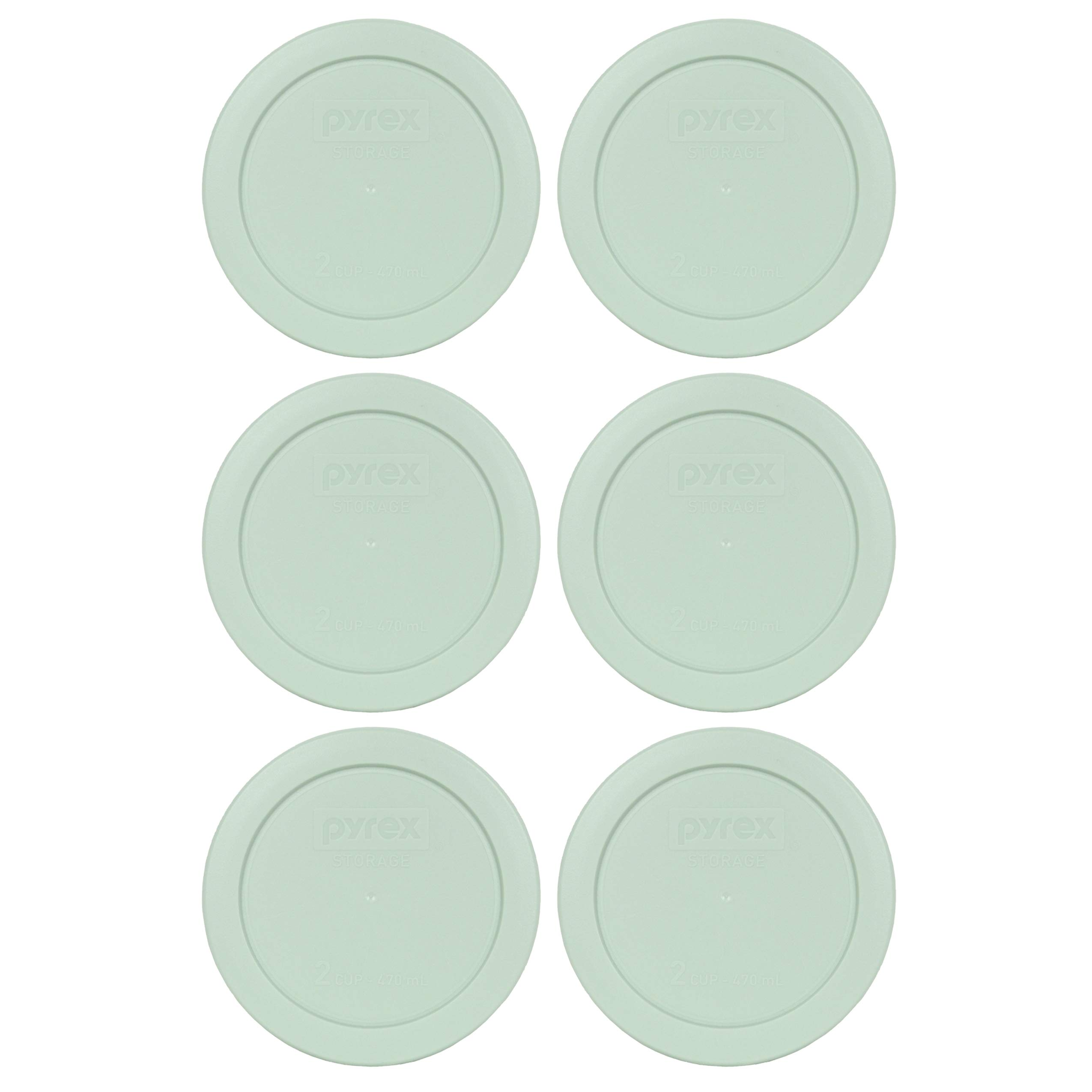 Pyrex 7200-PC 2 Cup Light Blue Round Plastic Food Storage Lid - 6 Pack by Pyrex