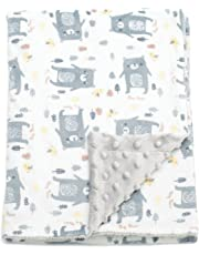 Boritar Baby Blanket for Boys Soft Minky With Double Layer Dotted Backing, Lovely Grey Bear Printed 30 x 40 Inch