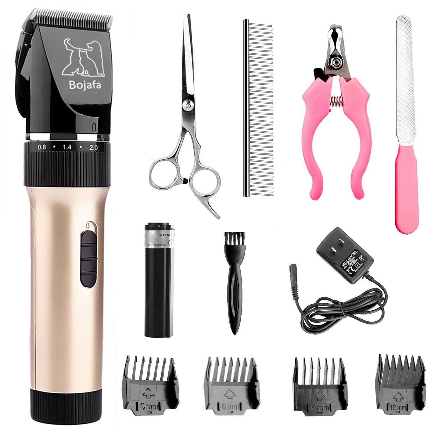 Bojafa Dog Clippers Low Noise Pet Grooming Clippers Tools Cordless Rechargeable Horse Cat Dog Hair Clippers Trimmers