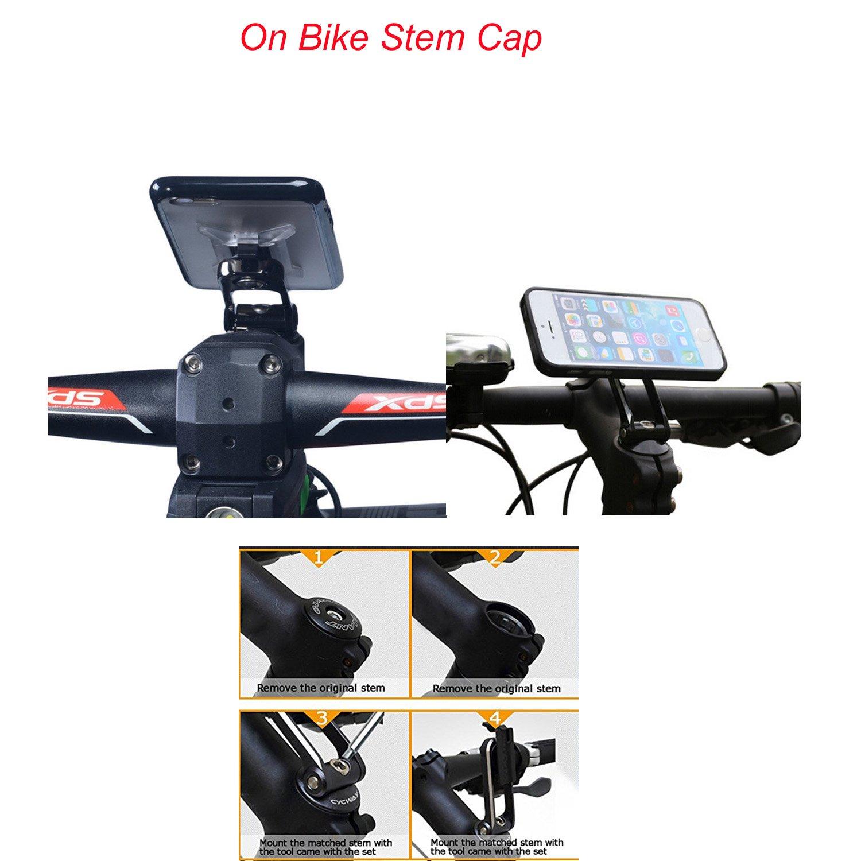 Aluminium Mount Calmpal Aluminium Alloy Clip-Grip Stem cap Bike Mount Holder with 3M Tape for iPhone//Samsung and All other Smartphones 4351508311