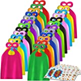 Superhero Capes and Masks 24 Sets for Kids with Superhero Stickers Decoration - Superhero Themed Birthday Party Capes