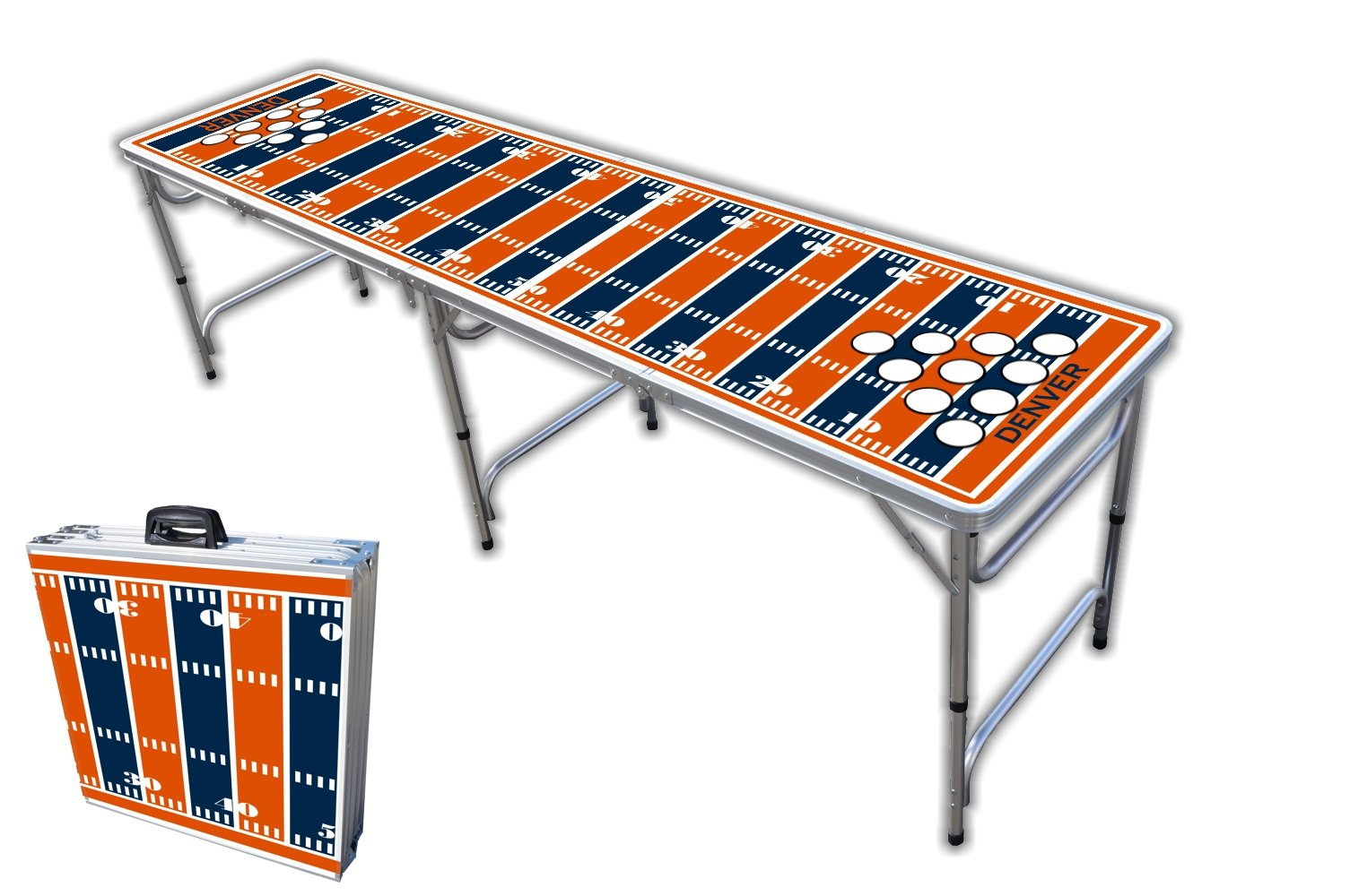 8-Foot Professional Beer Pong Table w/Holes - Denver Football Field Graphic by PartyPongTables.com