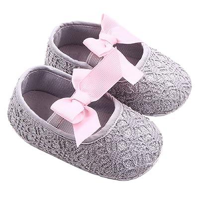 Culater® Jolie Bébé Chaussures Glitter Espadrille Anti-dérapant Bébé Semelle Souple (12/6~12 mois, gris)