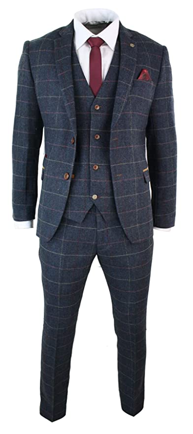Retro Clothing for Men | Vintage Men's Fashion Marc Darcy Mens Navy Blue Wine Check Herringbone Tweed Vintage 3 Piece New Suit Navy 34 $249.99 AT vintagedancer.com