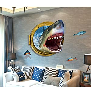 "3D Self-adhesive Removable Break Through the Wall Vinyl Wall Sticker/Mural Art Decals Decorator (Vivid Shark Mouth(23.6"" X 35.4""))"