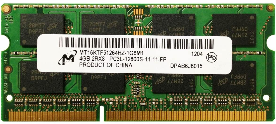 MICRON MT16KTF51264HZ-1G6M1 4GB NOTEBOOK SODIMM DDR3 PC12800(1600) UNBUF 1.35v 2RX8 204P 512MX64 256