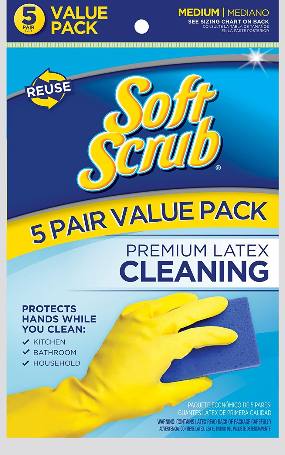 Soft Scrub 5 Pair Premium Latex Cleaning Gloves, Large, Yellow