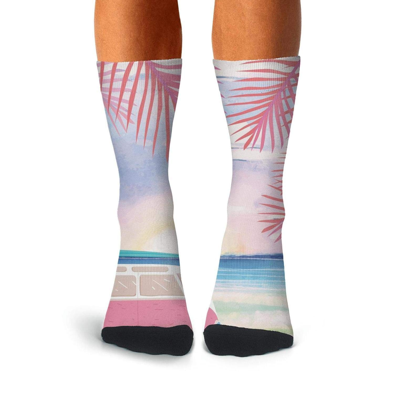 KCOSSH pink beach Palm Leaf Funny Crew Sock Cool Calf Socks for Men