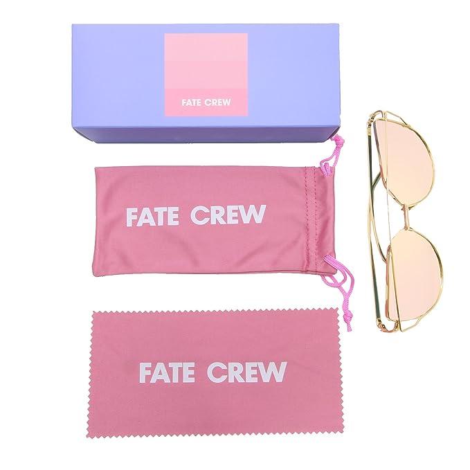 2eafaacb03 Fate Crew Cat Eye Flat Aviator Mirrored Lenses Metal Frame Sunglasses (pink)  at Amazon Women s Clothing store