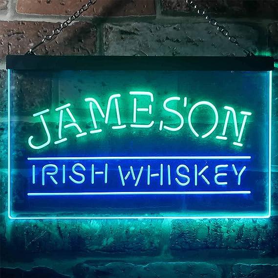 zusme Jameson Irish Whiskey Novelty LED Neon Sign Green + Blue W16 x H12