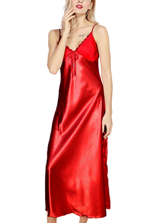 Asskyus Women's Lingerie, Ladies Satin Pajamas Lace Nightwear , Long Nightdress Asskyus Women' s Lingerie